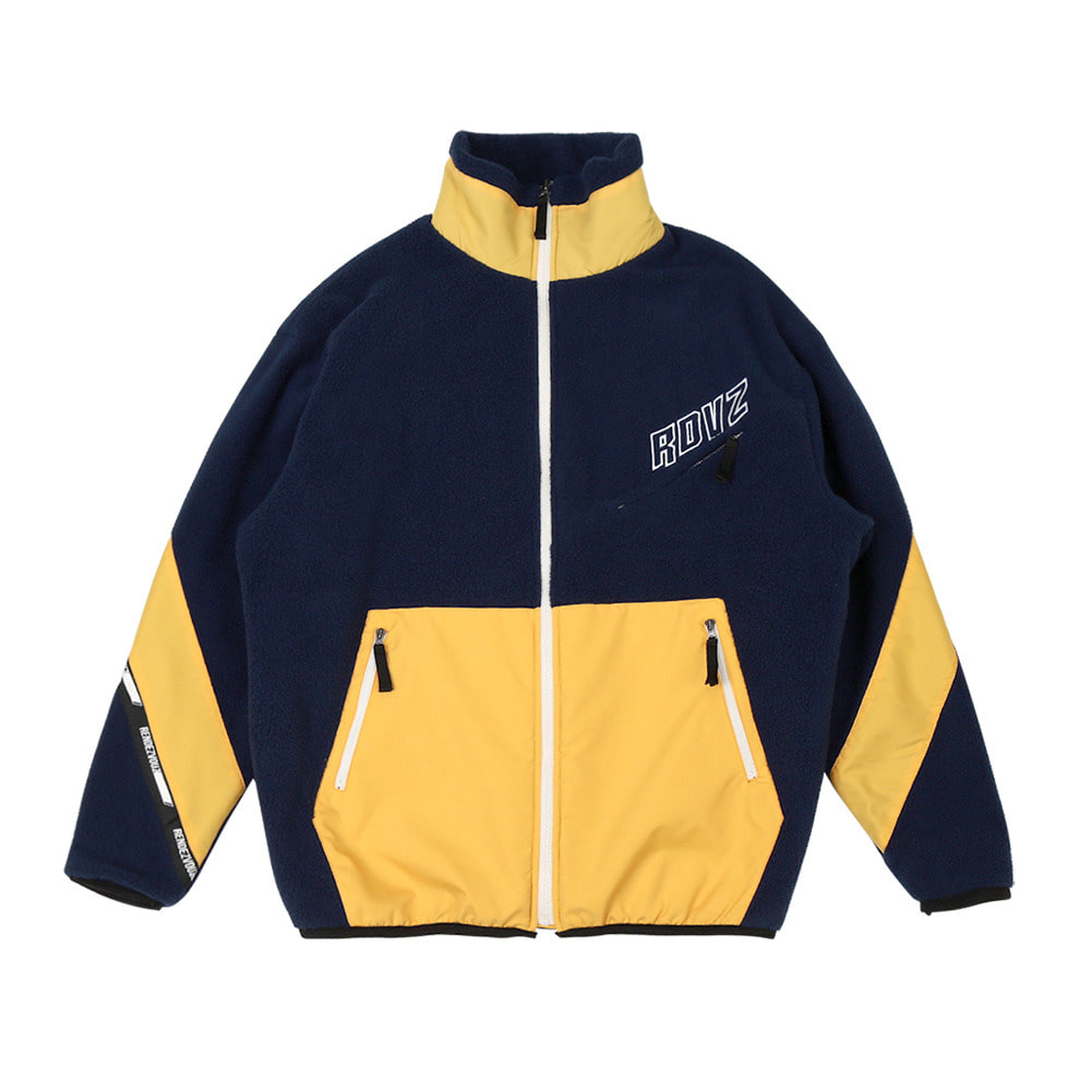 랑데부 DIAGONAL SLEEVE FLEECE ZIP-UP NAVY