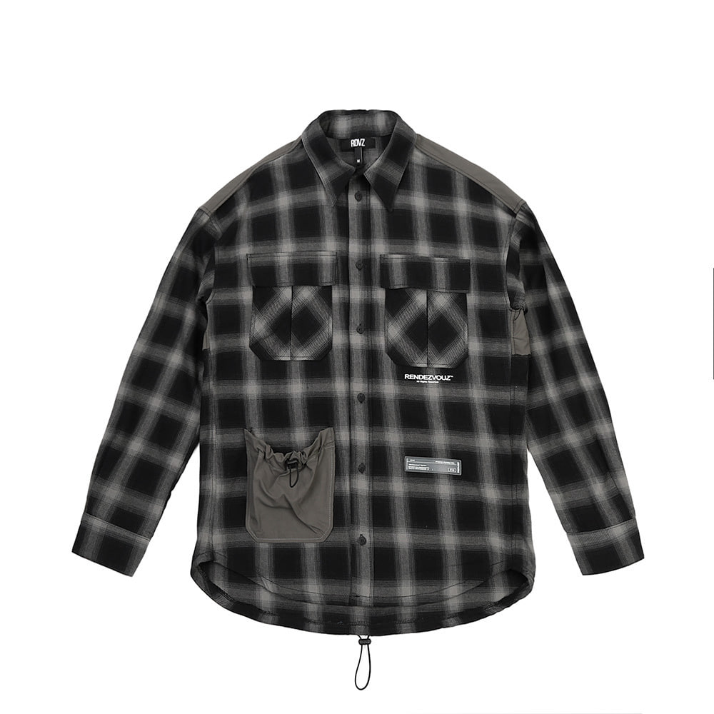 랑데부 STRING POCKET CHECK SHIRTS GREY