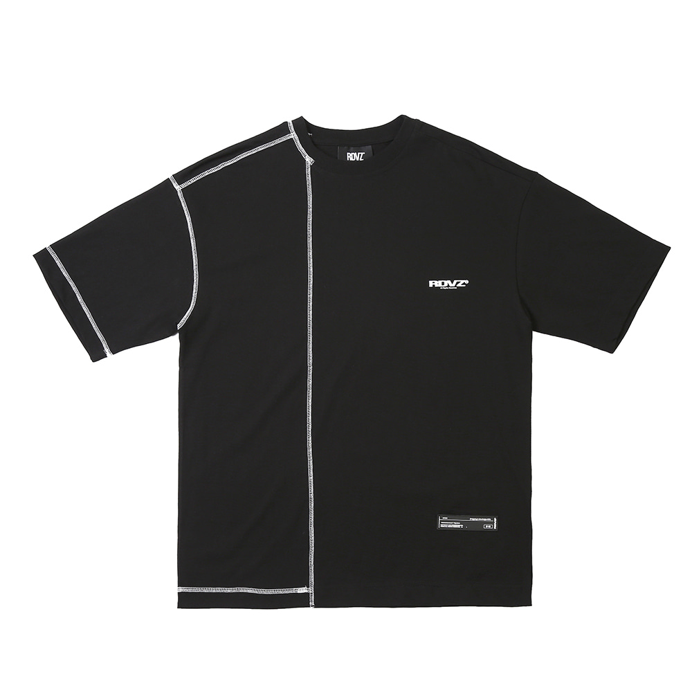 랑데부 COVERSTITCH T-SHIRTS BLACK