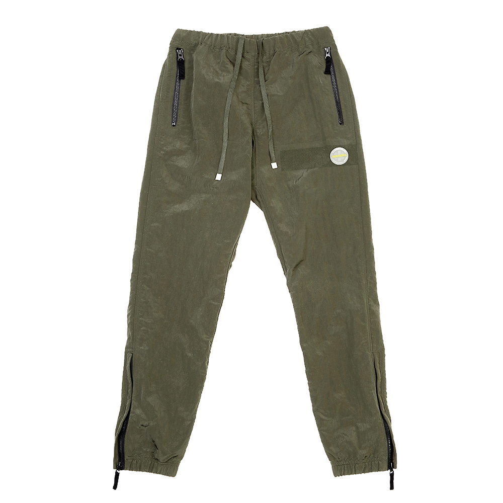 랑데부 METALLIC WARM UP PANTS OLIVE