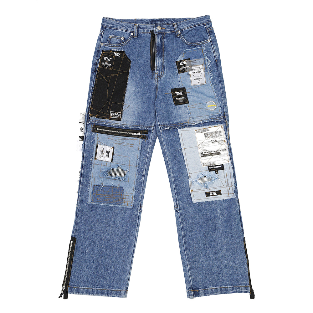 랑데부 LABEL CUSTOMIZE DENIM PANTS LIGHTBLUE