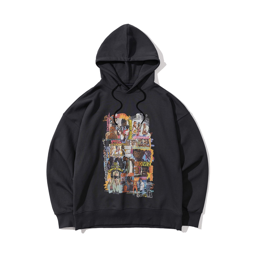 랑데부 (9월 25일 순차발송)INFLUENCER CARTOON HOODIE CHARCOAL