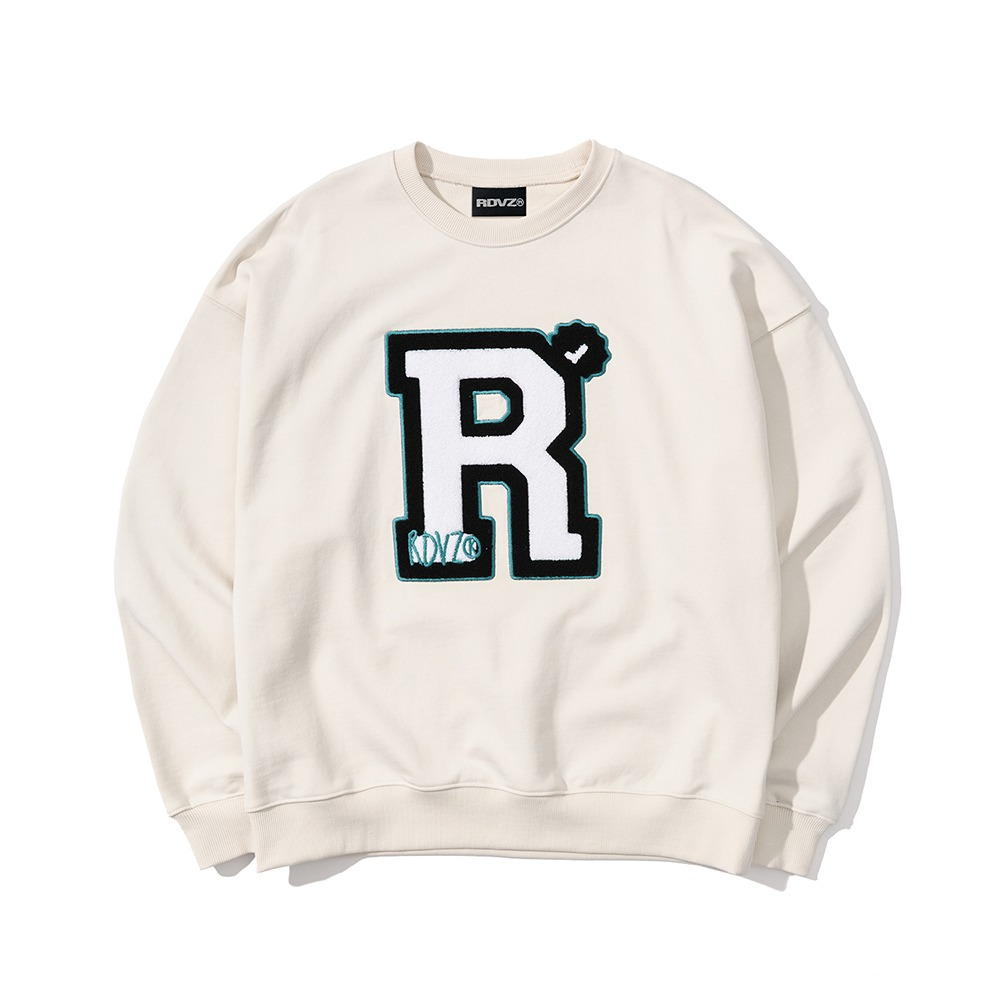 랑데부 BIG 'R' BOUCLE SWEAT TOP IVORY