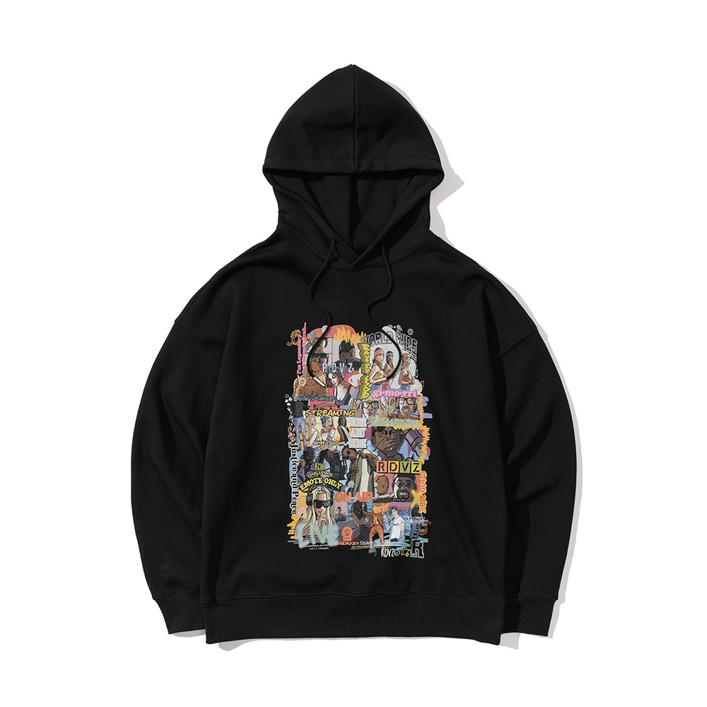 랑데부 (9월 25일 순차발송)INFLUENCER CARTOON HOODIE BLACK